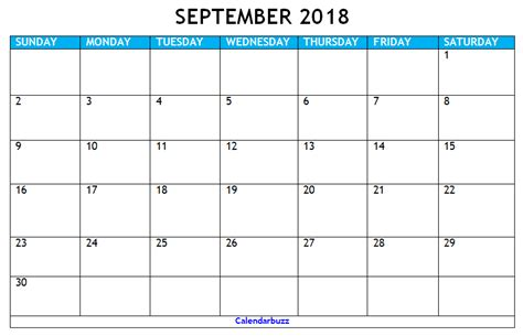 printable calendar 2018 september september 2018 calendar printable templates calendarbuzz