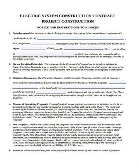 electrician contract template form templates