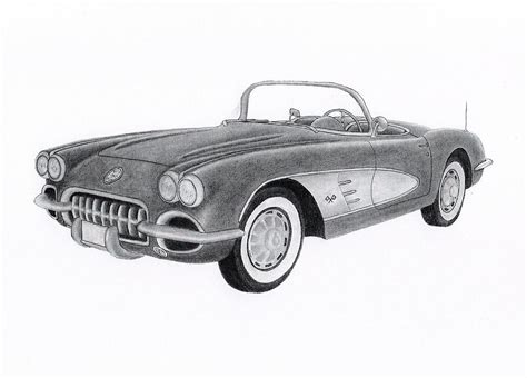 vintage corvette drawing corvette 1959 drawing by claude prud homme