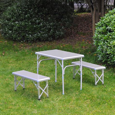 outdoor table with bench seats outsunny 32 portable outdoor picnic table with folding
