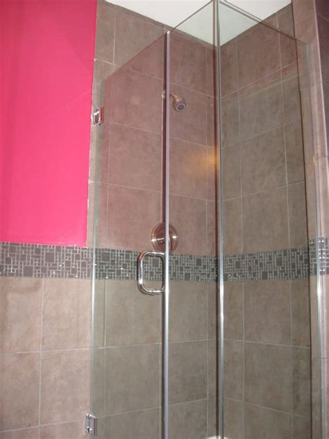 L Shaped Shower Door L Shaped Glass Shower Door From Glass Doctor Montebello Tile From Tnt Carpet Tile Yelp
