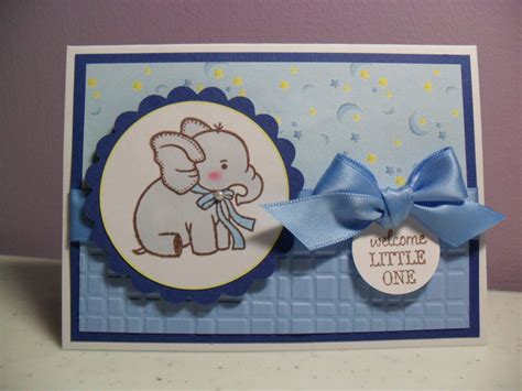 Handmade Welcome Cards - handmade baby boy card welcome one baby elephant