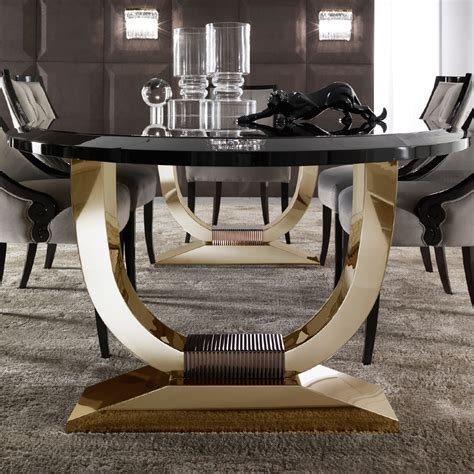 black and gold table italian black lacquered gold oval dining table