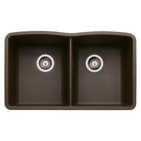Shop Blanco Diamond 19 25 In X 32 In Cafe Brown Double Blanco Granite Kitchen Sinks
