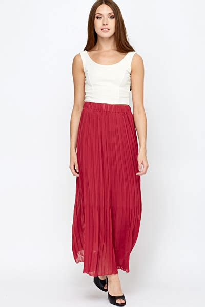 Elis Maxi Maroon 1 pleated maroon maxi skirt just 163 5
