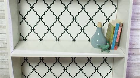 makeover  bookcase  peel  stick wallpaper youtube