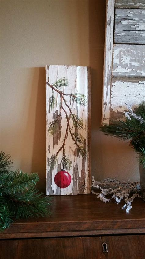 tree painted on wood ideas gifts 25 painted pine branch with bulb reclaimed barnwood pallet