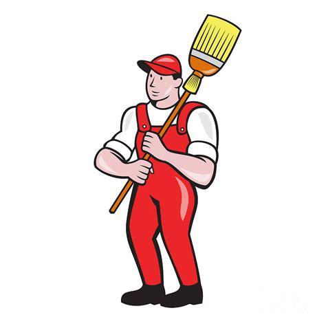 Broom Online janitor cleaner holding broom standing cartoon digital art