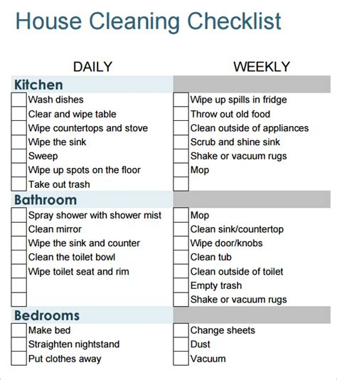 house cleaning list 6 house cleaning list templates word excel pdf templates