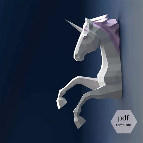 Unicorn Papercraft - unicorn papercraft 3d papercraft build your own low poly