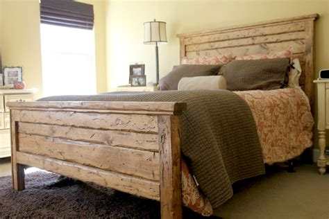 wood bed headboards king reclaimed wood headboard and footbaord