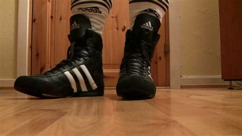 serious black leather adidas probout boxing boots