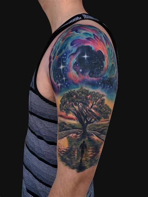 atmosphere tattoos outer space tree half sleeve a