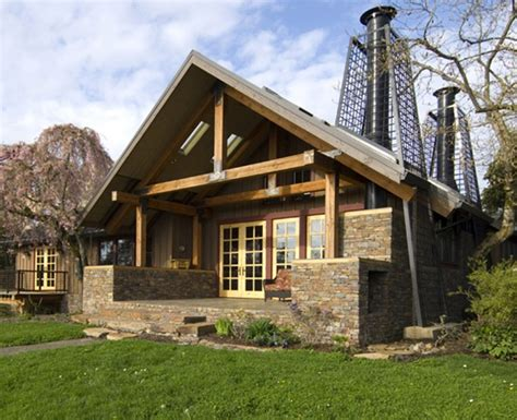 rustic cabin style house with decoration