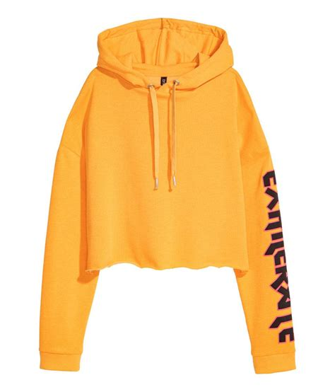 Hoodie Crop H M lyst h m cropped hooded top in yellow