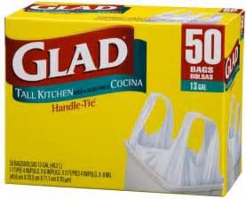 glad kitchen handle tie trash bags white