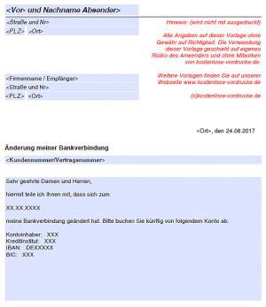 Änderung der Bankverbindung   kostenlose vordrucke.de