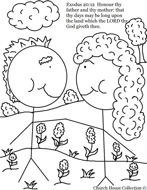 Beautiful Catechism Of The Catholic Church For Children #3: Honor%20Thy%20Father%20and%20Thy%20Mother%20Coloring%20Page%20For%20Ten%20Commandments.jpg