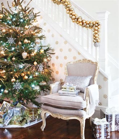 gold christmas stair decoration