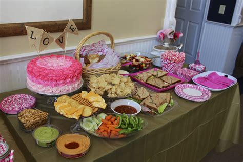Bridal Shower Food Table by A Pink Bridal Shower In Pictures