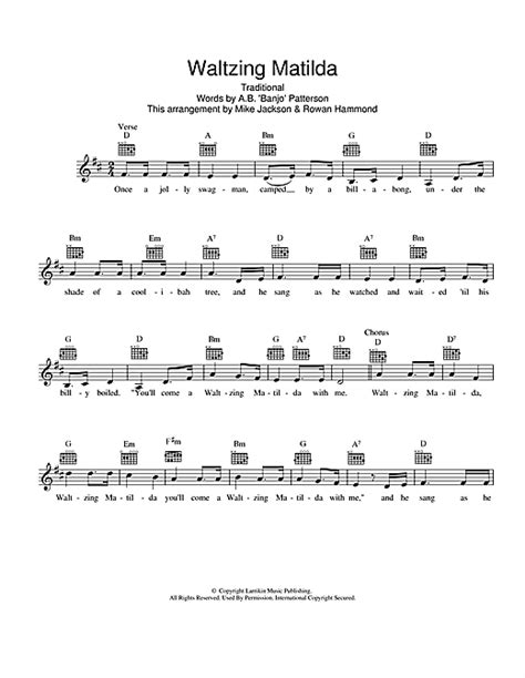 printable lyrics waltzing matilda waltzing matilda chords by traditional melody line