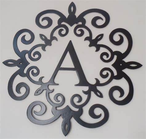 Metal Decorative Letters by Family Initial Monogram Inside A Metal Scroll With A