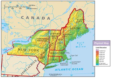 map of northeast usa northeast region physical map