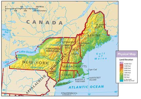 Northeast Region Physical Map