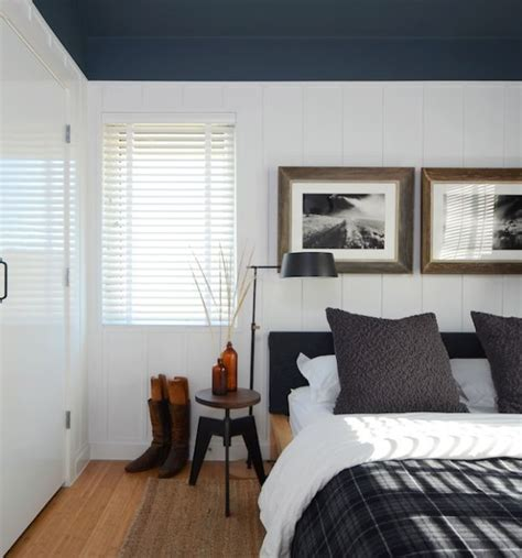 Bedroom With Black Ceiling by Blue Bedroom Plaid Board And Batten Hooked On Houses