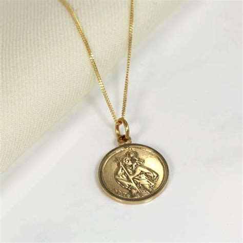 personalised 9ct gold st christopher necklace