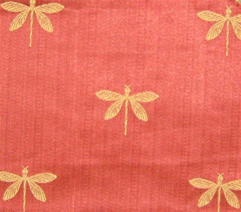 dragonfly upholstery fabric embroidered upholstery fabric red and gold dragonflies