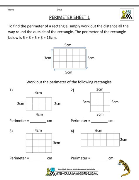 free printable area worksheets grade 3 perimeter worksheets