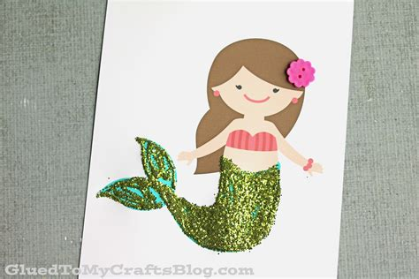 free kid crafts glitter mermaid kid craft w free printable glued