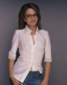 Tshirt A57 Alba Match Item tina fey with glasses and showing through shirt