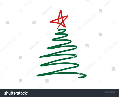 stylized scribbled green christmas tree red stock vector  shutterstock