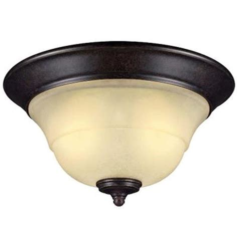 hton bay essex 2 light aged black flush mount