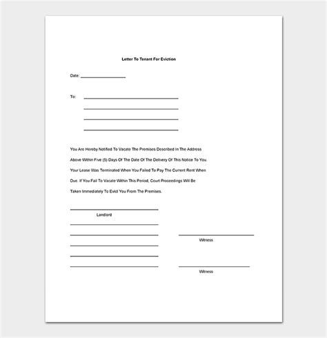 Eviction Notice 24 Sle Letters Templates Tenant Eviction Letter Template