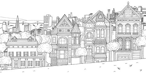 coloring book page of a city free coloring pages of johanna basford