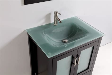 Glass Bathroom Sink Tempered Glass Top 30 Quot Single Sink Bathroom Vanity With Mirror And Faucet Espresso Finish