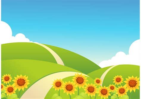 rolling hills  sunflowers vector