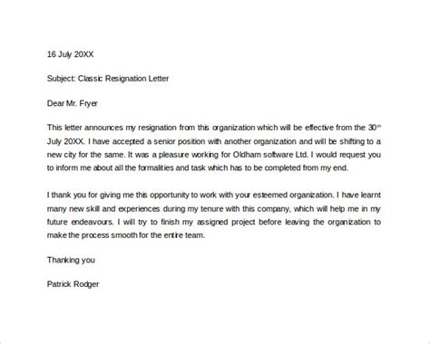 sle of formal exit letter formal resignation letter 40 download free documents in