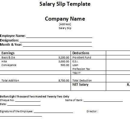 salary receipt template salary slip template
