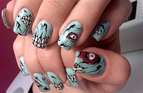 zombie nail art tutorial coffin couture diy horror movie themed nail art