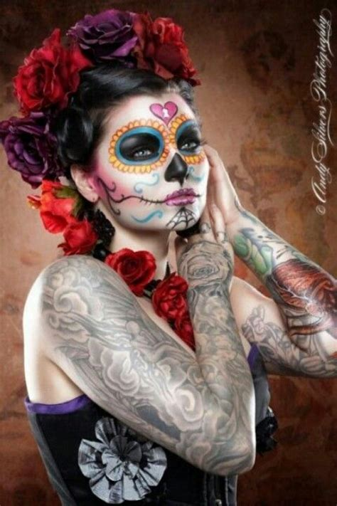 halloween hairstyles day of the dead dia de los muertos make up skull pretty red flowers