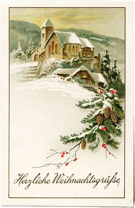 german christmas postcard vintage christmas clip art snowy winter country scene  fashioned