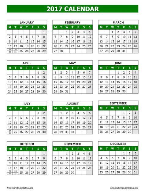 2017 Calendar Template   Open Office Templates