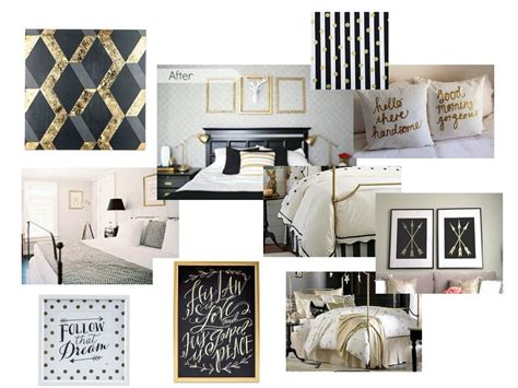 black white  gold guest bedroom decorate  life