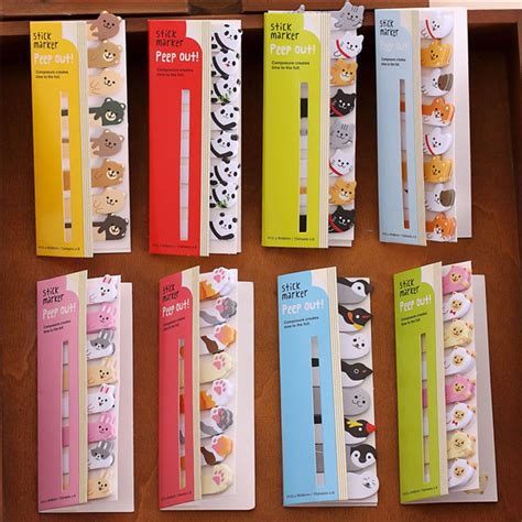8 Adorable Stationery Kits by 8pcs Lot Animal Memo Paper Panda Cat Stick