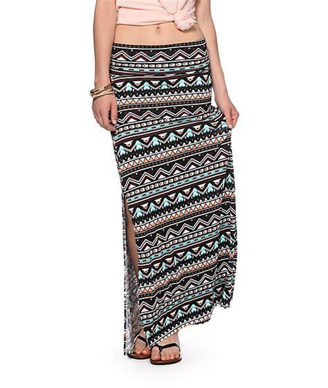 empyre yasmin multicolor tribal print maxi skirt