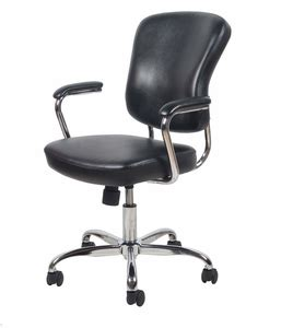 essentials swivel leather office chair padded arms ess 6080